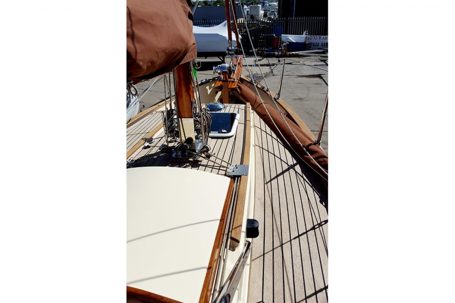 Yarmouth 23 Gaff Rig Topsail Cutter restored by Morgan Marine - restored wood topsides