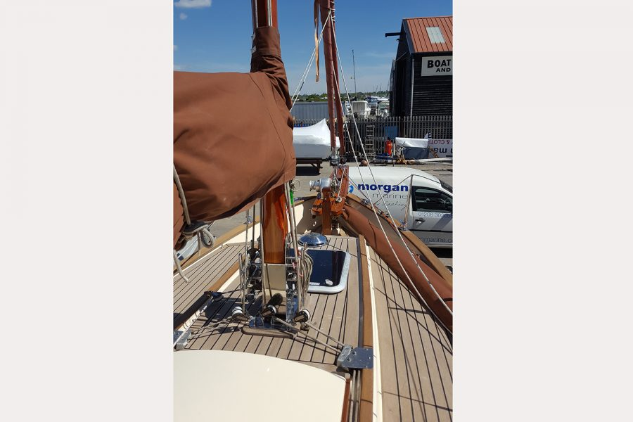 Yarmouth 23 Gaff Rig Topsail Cutter restored by Morgan Marine - wood topsides