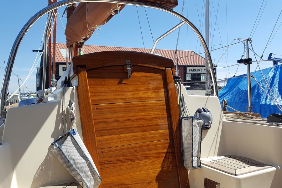 Yarmouth 23 Gaff Rig Topsail Cutter restored by Morgan Marine - deck and cabin door
