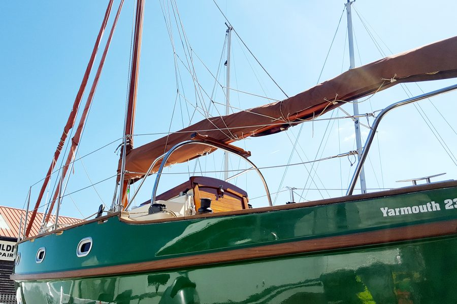 Yarmouth 23 Gaff Rig Topsail Cutter restored by Morgan Marine - hull and mast