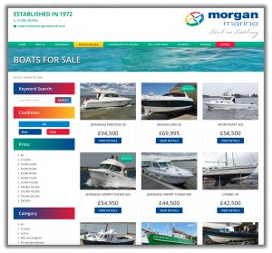 Screen shot of Boats for Sale section