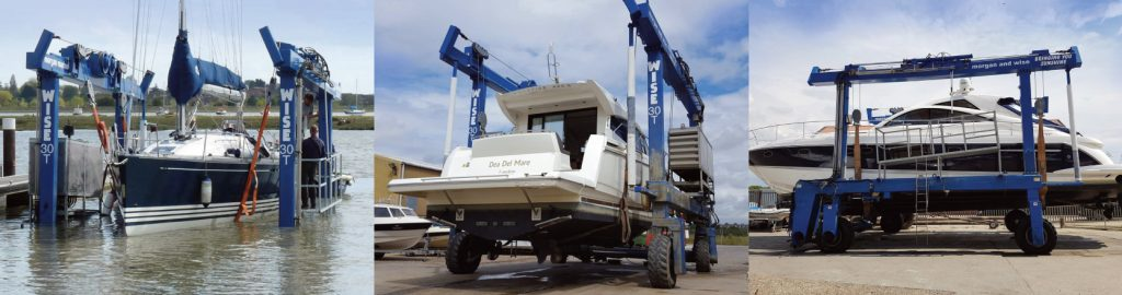 Wise 25 tonne hoist - launching and retrieving boats on our private slipway at Morgan Marine