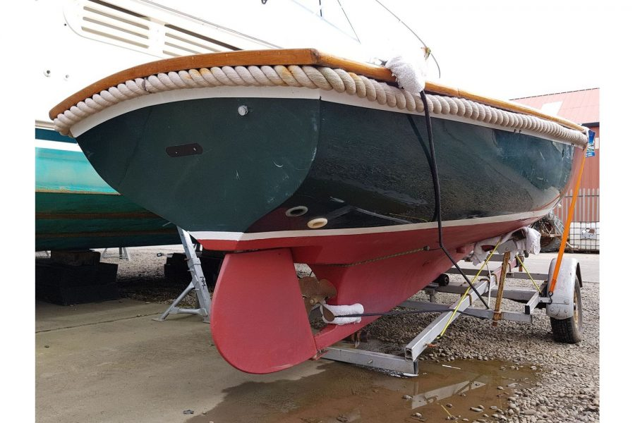 Open GRP launch - transom and rudder
