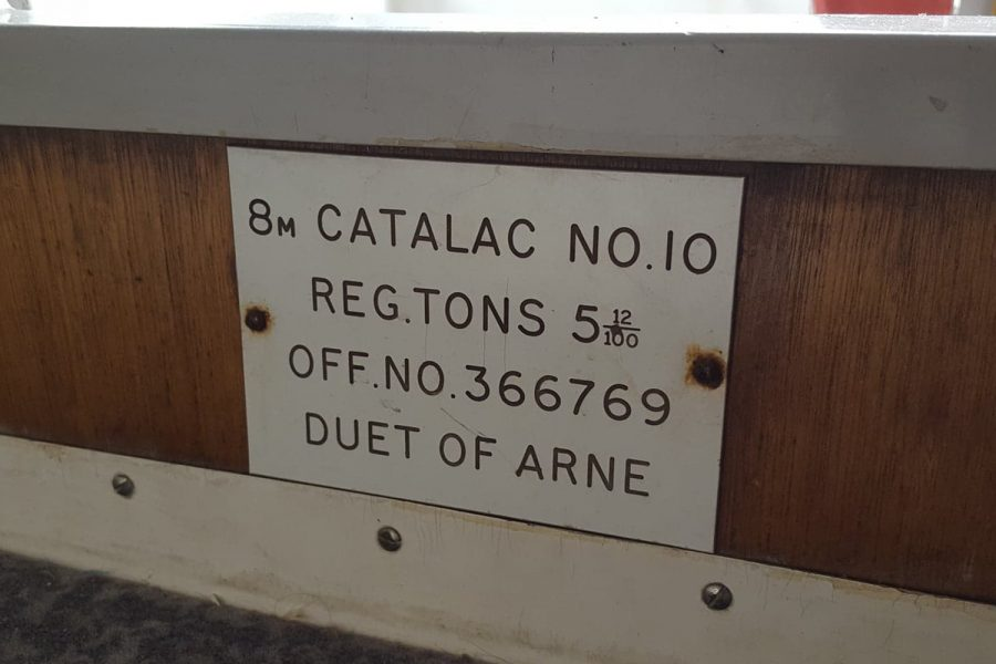 Sailing catamaran - name plate
