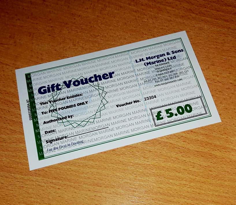Gift certificates available in £5, £10, £20 and £50 denominations for use in the chandlery