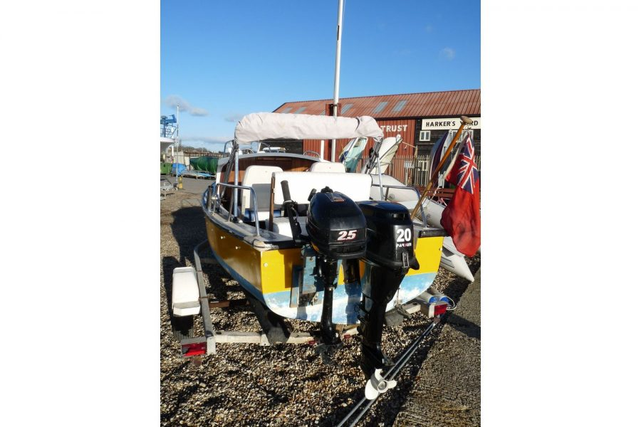 16ft traditional fishing cuddy - main and aux outboard engines