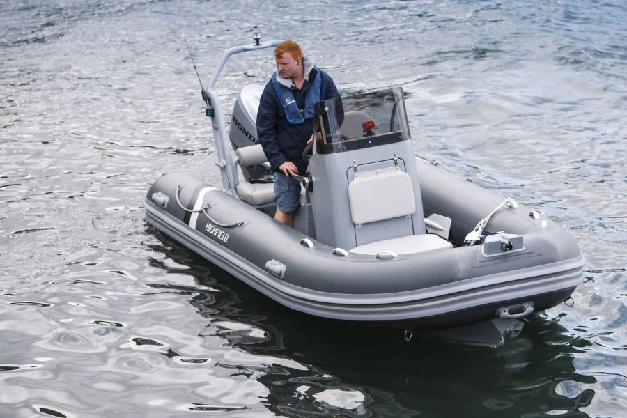 Highfield OM 460 aluminium RIB - view from bow