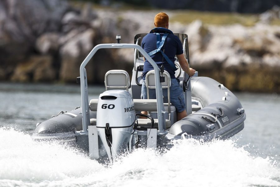 Highfield OM 460 aluminium RIB - view from stern
