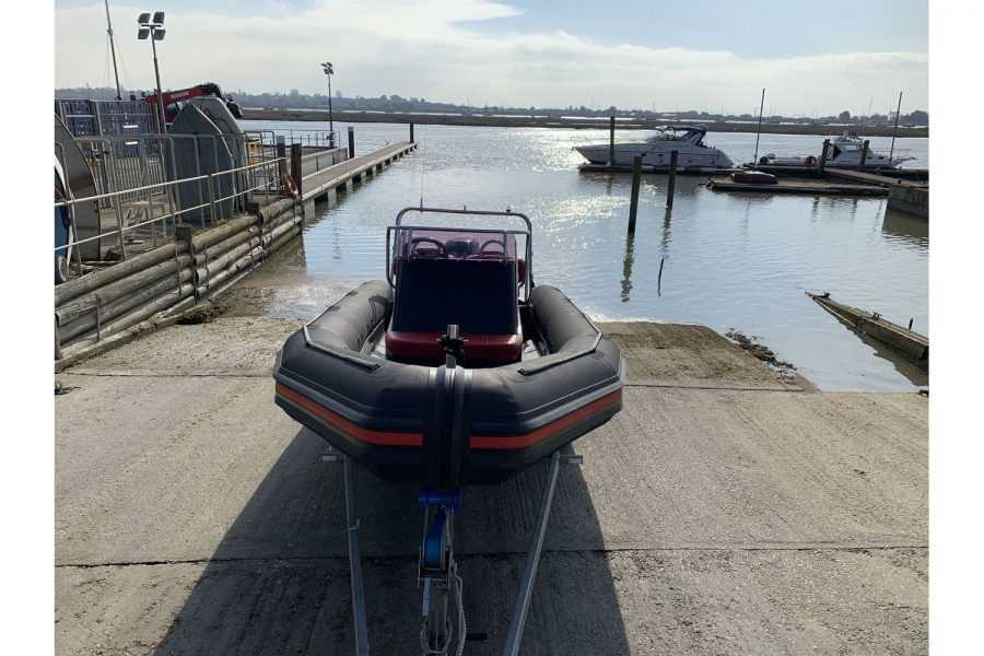 Gemini Waverider 600 RIB - bow view on slipway