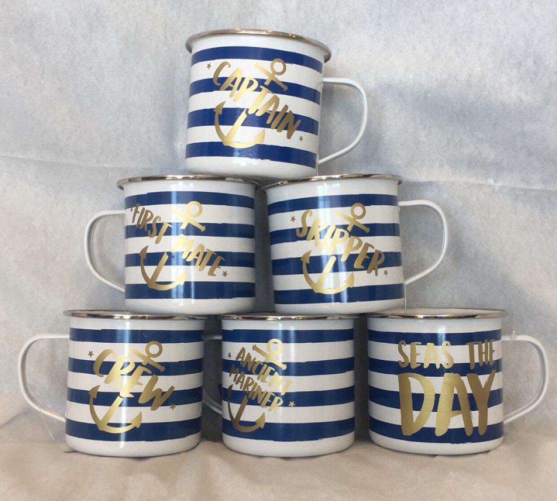 Enamel mugs £8 each great for boating, beach hut or the garden.