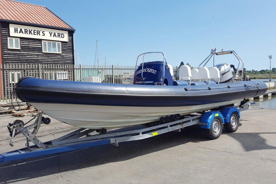 Porters 6.5m RIB - port side bow