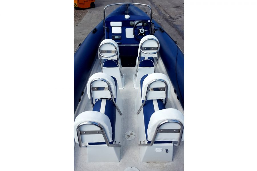 Porters 6.5m RIB - overhead view towards bow
