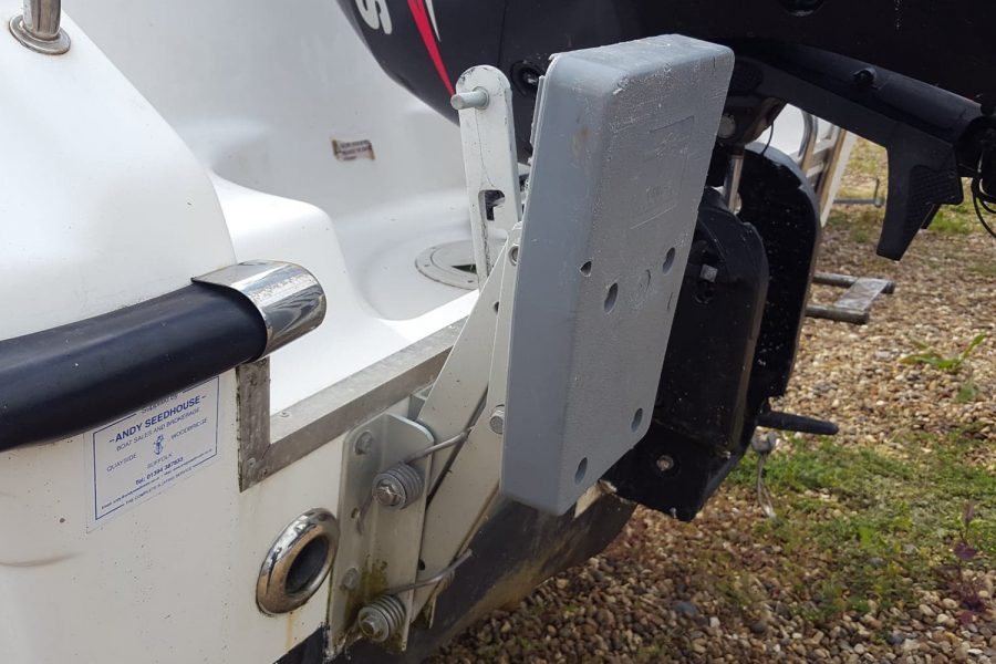 Warrior 175 fishing boat - auxiliary outboard bracket