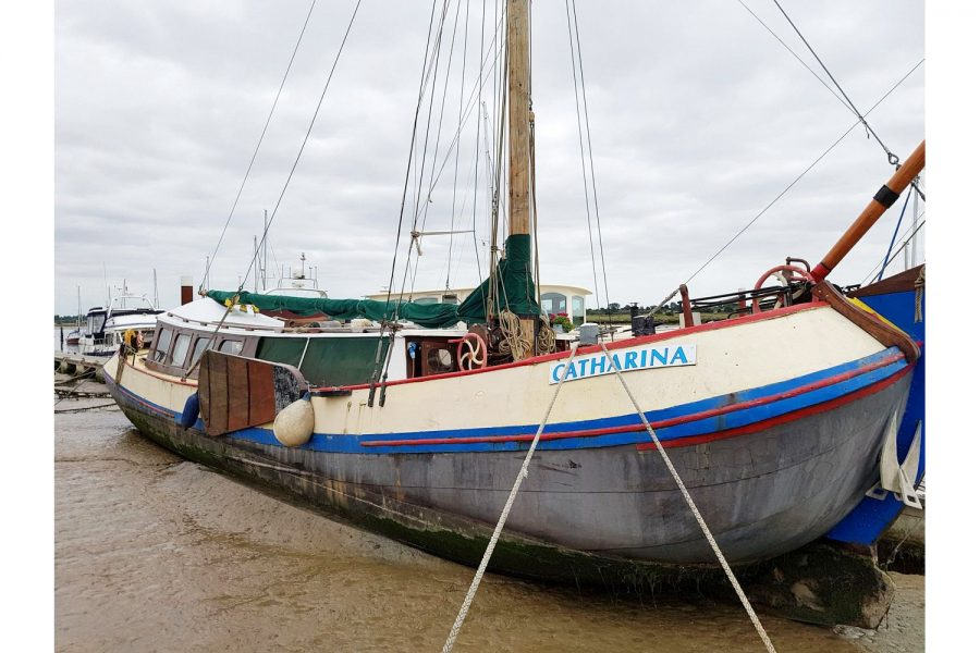 Tjalk 17m Dutch Motor Sailing Barge - moored