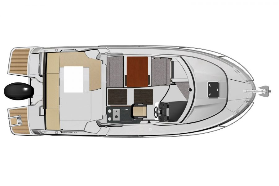 Jeanneau Merry Fisher 795 - diagram of deck and interior