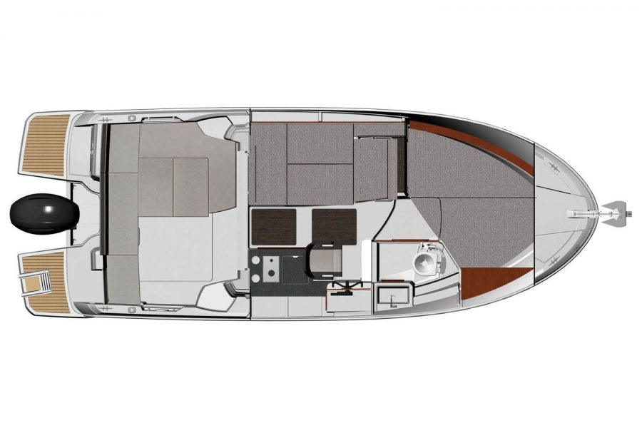 Jeanneau Merry Fisher 795 - diagram of wheelhouse with berth