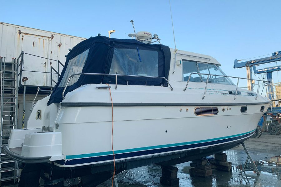 Nimbus 30c boat - starboard aft with canopy