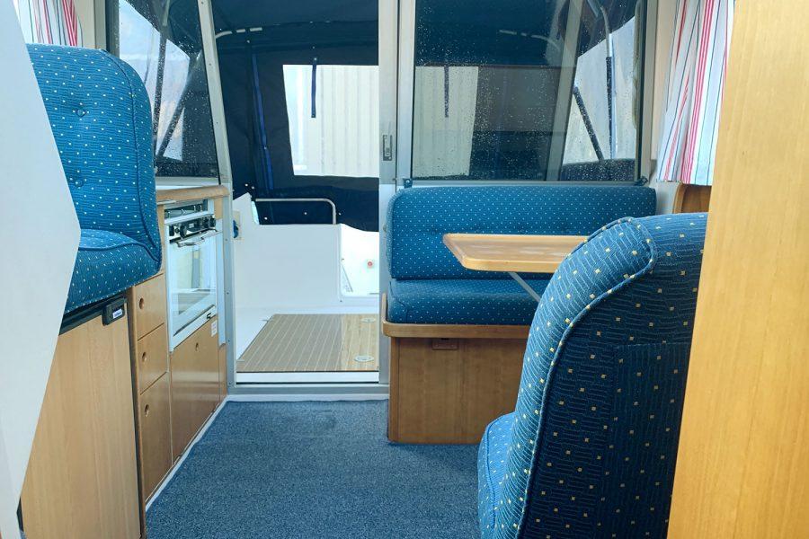 Nimbus 30c boat - comfortable seating in the wheelhouse