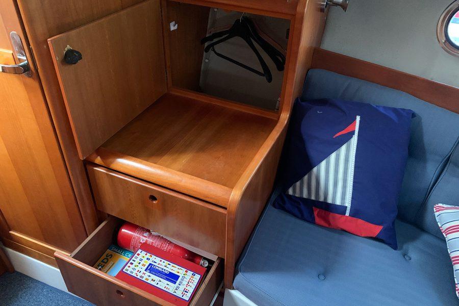 Nimbus 30c boat - storage in the cabin