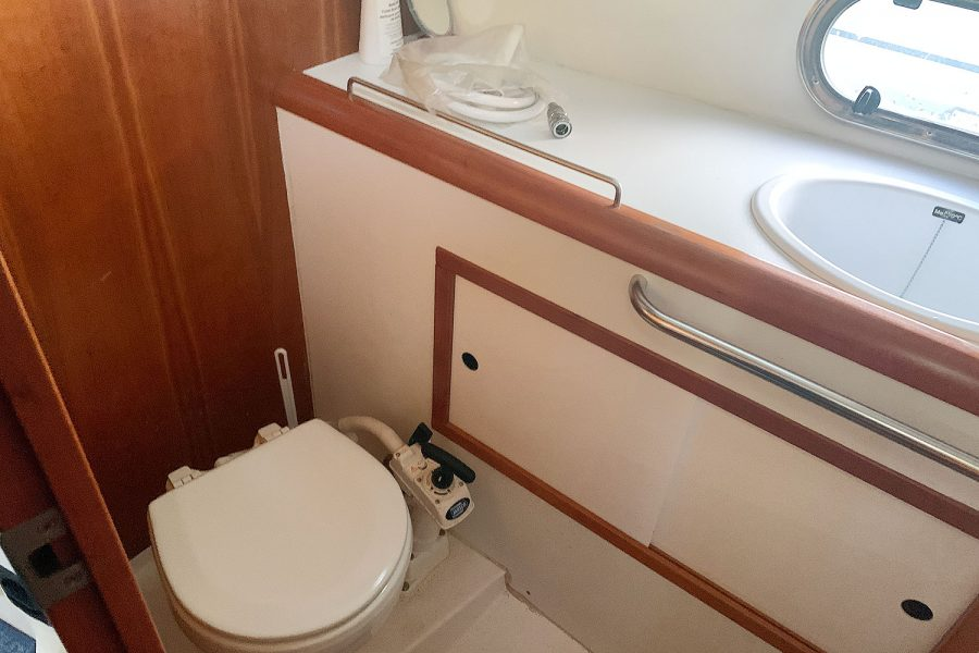 Nimbus 30c boat - marine toilet in heads compartment