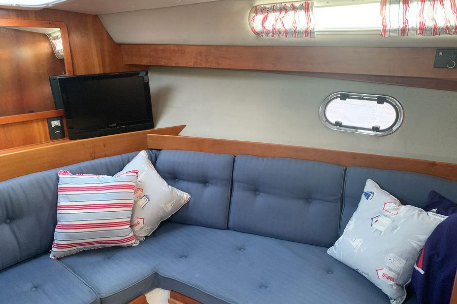 Nimbus 30c boat - cushioned seating in the cabin