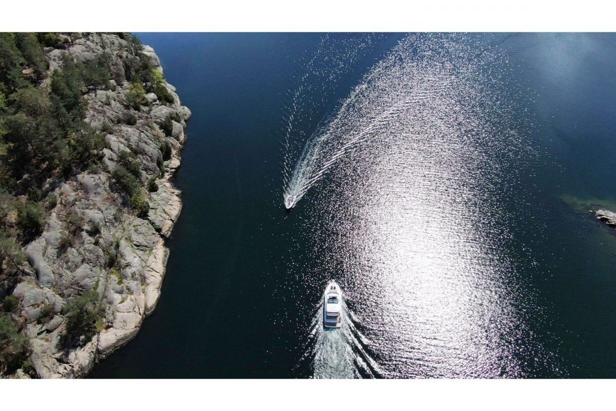 Jeanneau NC 37 diesel cruiser - on the water - view from very high
