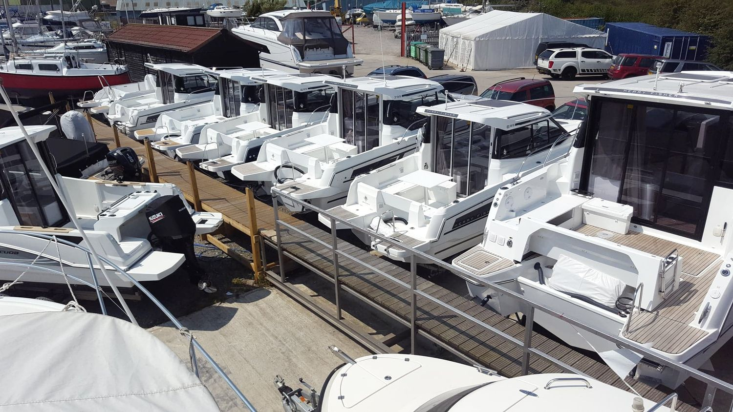 Jeanneau Merry Fisher boats on display at Morgan Marine