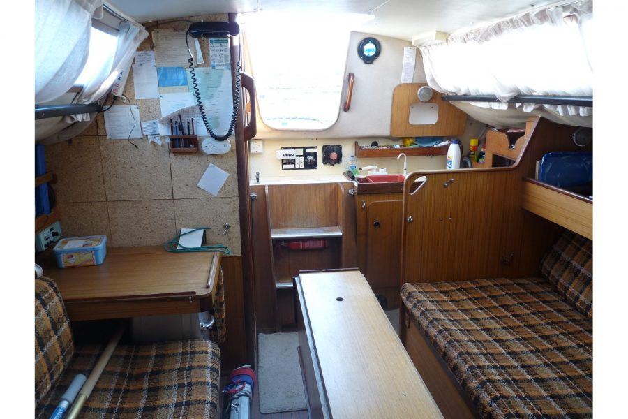 Jouet 820 cruiser yacht - aft saloon and steps up to deck