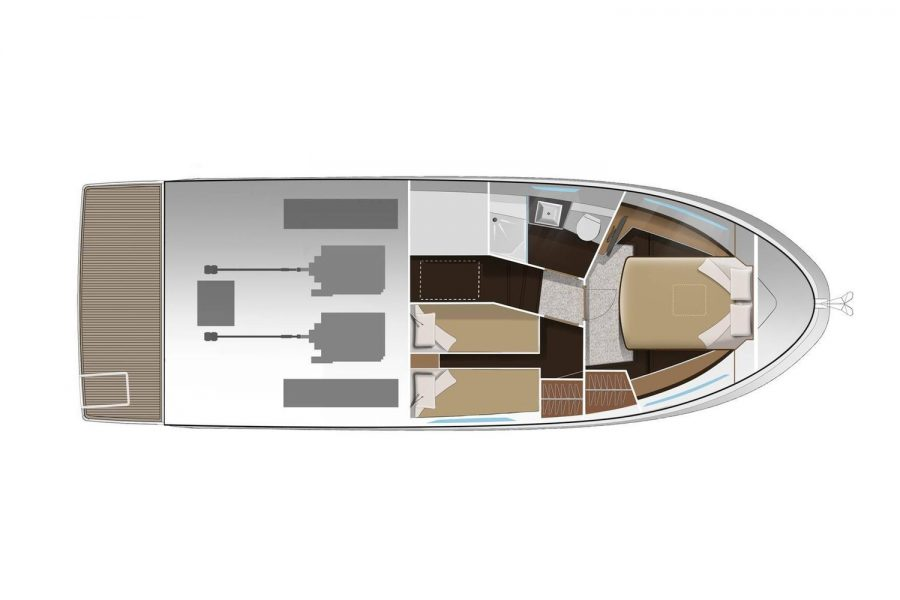 Jeanneau Merry Fisher 38 Flybridge - diagram of cabins and engines