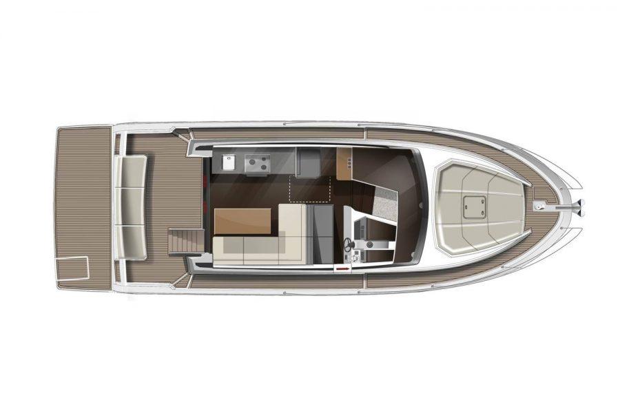 Jeanneau Merry Fisher 38 Flybridge - diagram of wheelhouse and deck