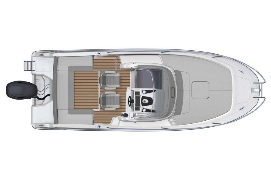 Jeanneau Cap Camarat 7.5 WA - Series 2 - overhead view diagram with bench seats