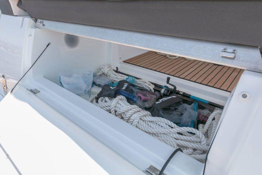 Jeanneau Leader 36 diesel sports cruiser - storage locker
