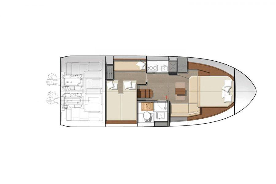 Jeanneau Leader 36 diesel sports cruiser - below deck diagram