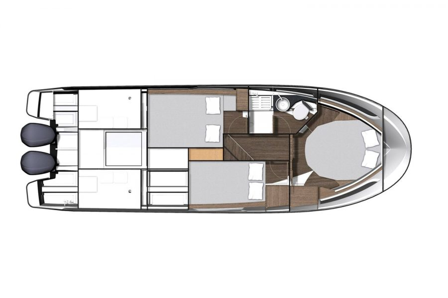 Jeanneau Merry Fisher 1095 Flybridge - cabin layout diagram