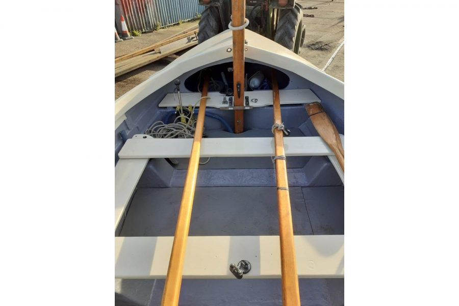 Character 18 coastal sailing yacht - overhead view towards bow
