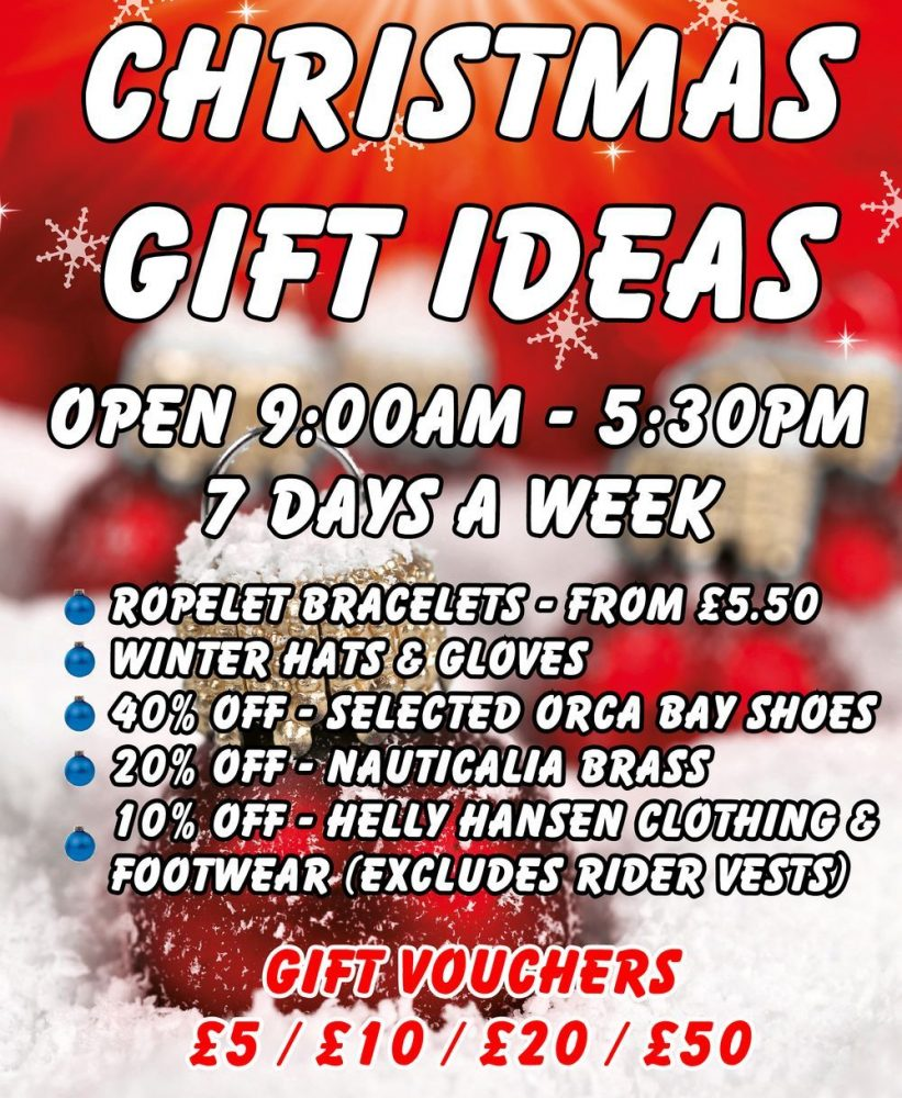 Christmas Gift Ideas at Morgan Marine. 40% off - selected Orca Bay Shoes. 20% off - Nauticalia Brass. 10% off Helly Hansen Clothing and Footwear (excludes Rider Vests). And much more!