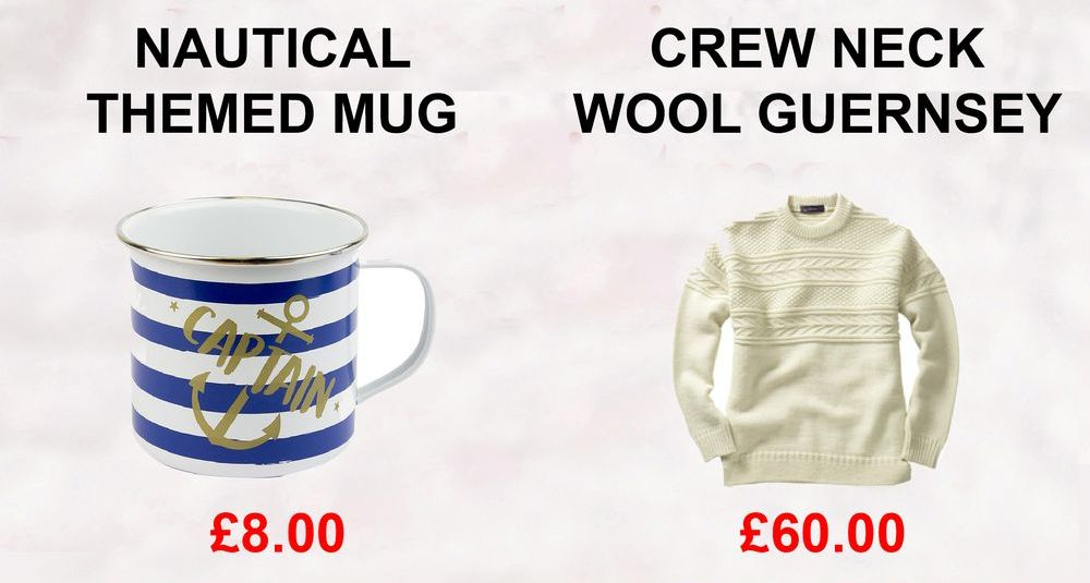 Nautical themed mugs and Crew neck wool guernsey