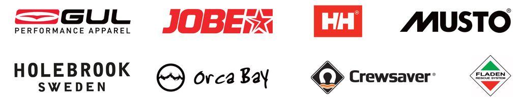 Gul, Jobe, Helly Hansen, Musto, Holebrook, Orca Bay, Crewsaver and Flader logos