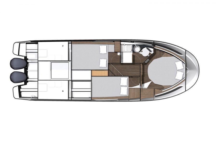 Jeanneau Merry Fisher 1095 wheelhouse fishing boat - diagram of cabin layout