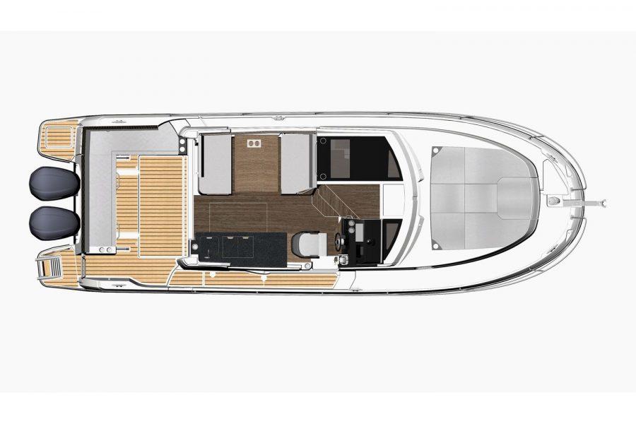 Jeanneau Merry Fisher 1095 wheelhouse fishing boat - diagram of deck layout