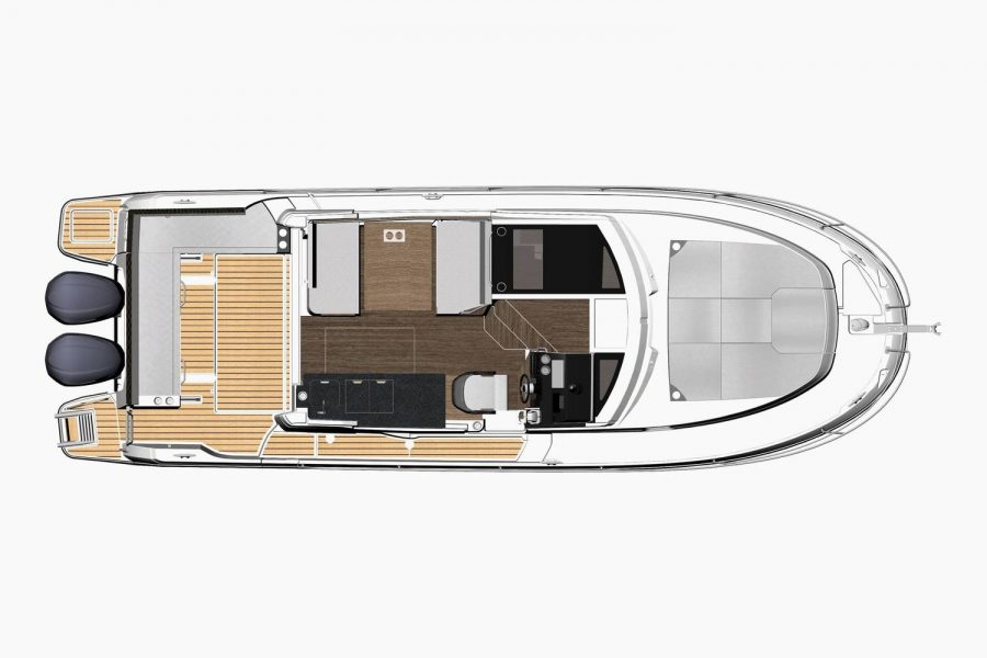 Jeanneau Merry Fisher 1095 Flybridge (wheelhouse fishing boat) - diagram of cockpit and deck layout