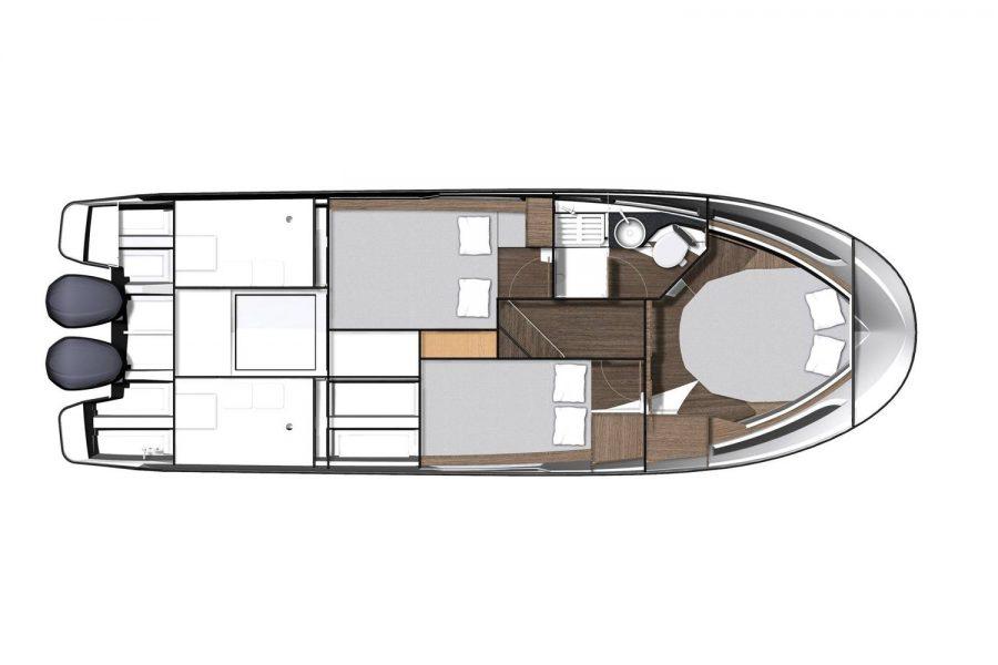Jeanneau Merry Fisher 1095 Flybridge (wheelhouse fishing boat) - diagram of cabin layout