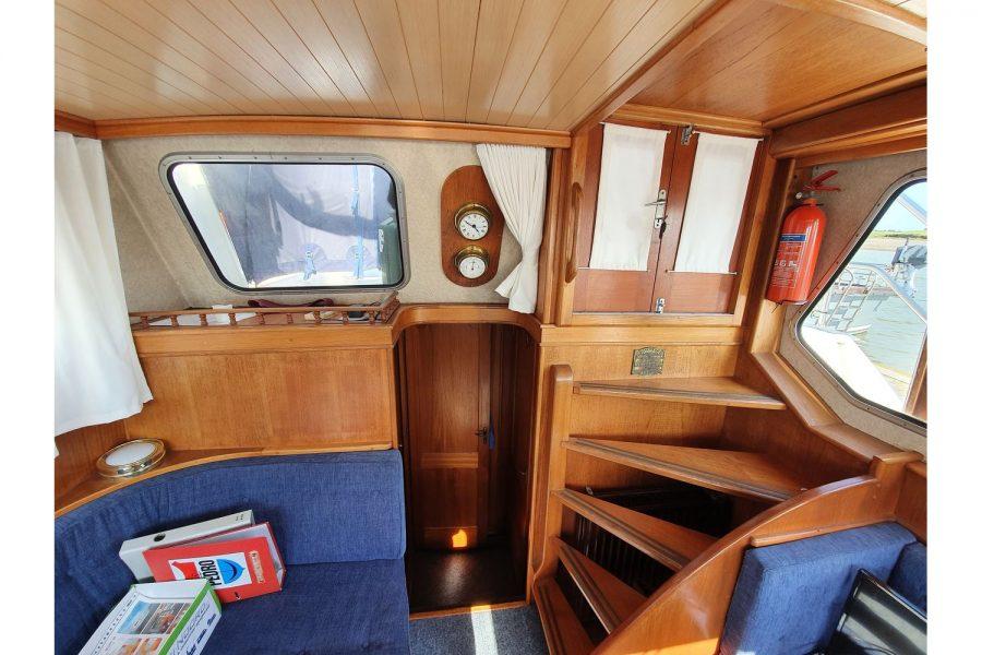 Pedro 36 - Steel Hull Diesel Cruiser - aft spiral stairs to top deck