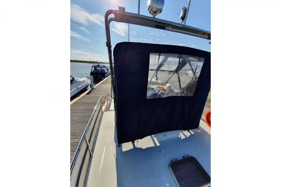 Pedro 36 - Steel Hull Diesel Cruiser - top deck canopy